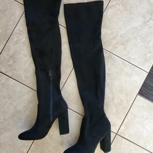 Brand New Black Suede Knee high boots Size 5